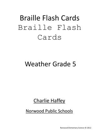 Braille Flash Cards Braille Flash Cards