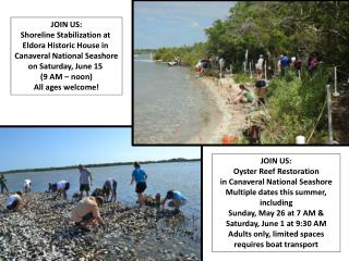 JOIN US: Shoreline Stabilization at  Eldora Historic House in  Canaveral National Seashore
