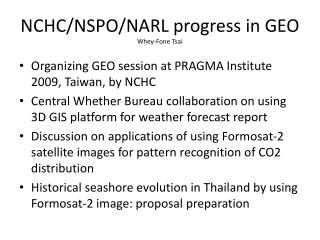NCHC/NSPO/NARL progress in GEO Whey- Fone  Tsai