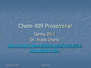 Chem 409 Proseminar