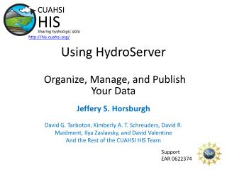 Using HydroServer Organize, Manage, and Publish Your Data