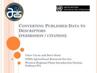 Converting Published Data to Descriptors (permission / citation)