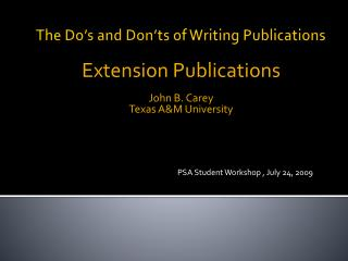 The Do's and Don'ts of Writing Publications