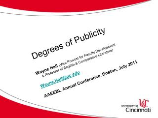 Degrees of Publicity