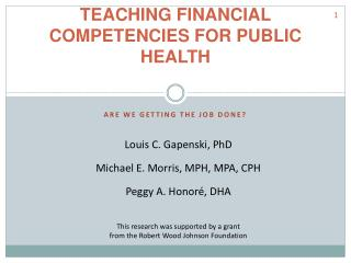 TEACHING FINANCIAL COMPETENCIES FOR PUBLIC HEALTH