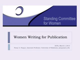 Women Writing for Publication