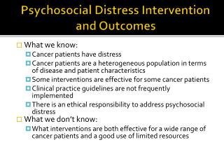 Psychosocial Distress Intervention and Outcomes