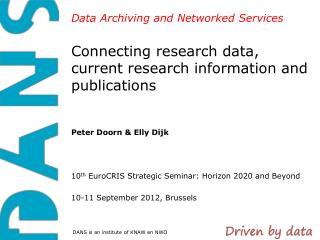 Connecting research data, current research information and publications