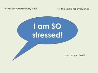 I am SO stressed!