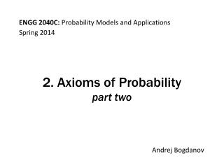 2. Axioms of Probability part two