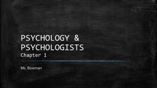 PSYCHOLOGY & PSYCHOLOGISTS Chapter 1