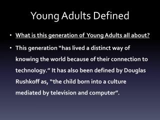 Young Adults Defined