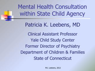 Mental Health Consultation within State Child Agency