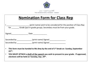 Nomination Form for Class Rep