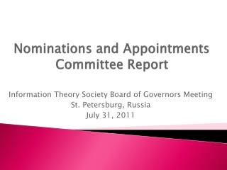 Nominations and Appointments Committee Report