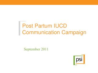 Post Partum IUCD Communication Campaign