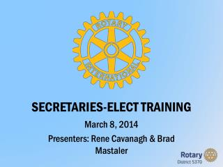 SECRETARIES-ELECT TRAINING