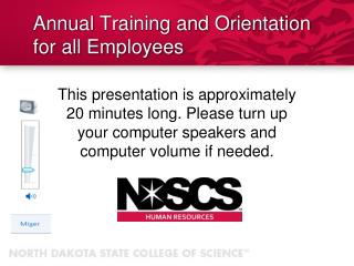 Annual Training and Orientation for all Employees