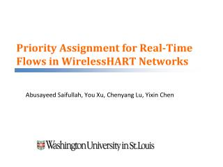 Priority Assignment for Real-Time Flows in WirelessHART Networks