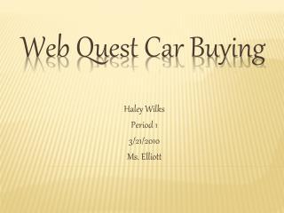 Web Quest Car Buying