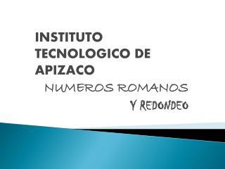 INSTITUTO TECNOLOGICO DE APIZACO NUMEROS ROMANOS  Y REDONDEO