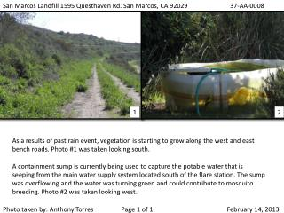 San Marcos Landfill 1595 Questhaven Rd. San Marcos,  CA  92029 		37-AA-0008
