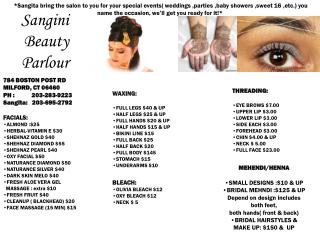 Sangita bring the salon to you for your special events ...