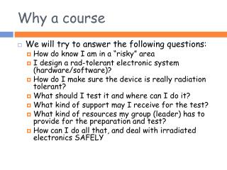 Why a course