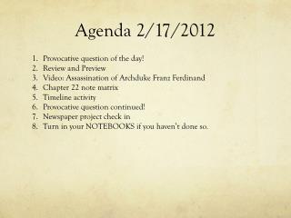 Agenda 2/17/2012