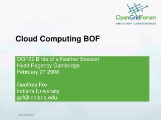 Cloud Computing BOF