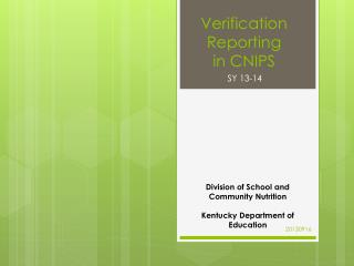 Verification Reporting  in CNIPS