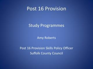 Post 16 Provision