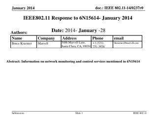 IEEE802.11 Response  to  6N15614-  January 2014