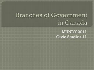 Branches of Government in Canada