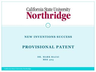New Inventions Success Provisional Patent  Dr. MARK  rajai MSE 303