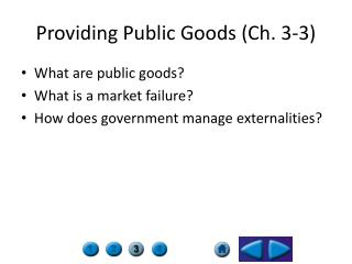 Providing Public Goods (Ch. 3-3)