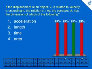 If the displacement of an object, x, is related to velocity, v, according to the relation x  Av, the constant, A, has th