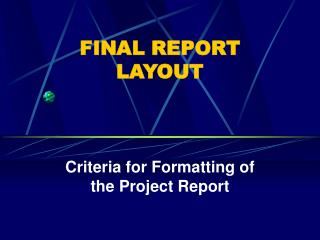 FINAL REPORT LAYOUT