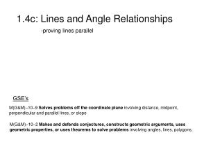 1.4c: Lines and Angle Relationships