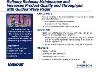 Refinery Reduces Maintenance and  Increases Product Quality and Throughput  with Guided Wave Radar