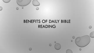 Benefits of Daily Bible Reading