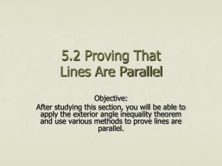 5.2 Proving That  Lines Are Parallel