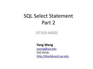 SQL Select Statement     Part 2