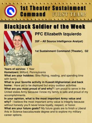 Blackjack Soldier of  the Week