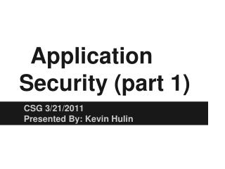 Application  Security  (part 1)