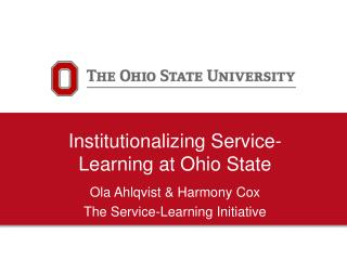 Institutionalizing Service-Learning at Ohio State
