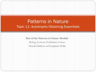Patterns in Nature Topic 11:  Autotrophs Obtaining  Essentials