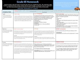 Grade 6E  Homework
