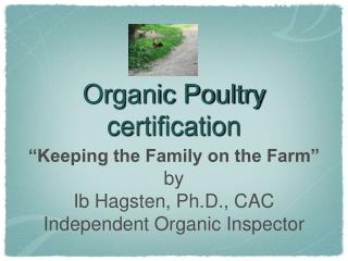 Organic Poultry certification
