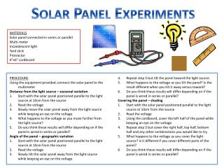 Solar Panel Experiments